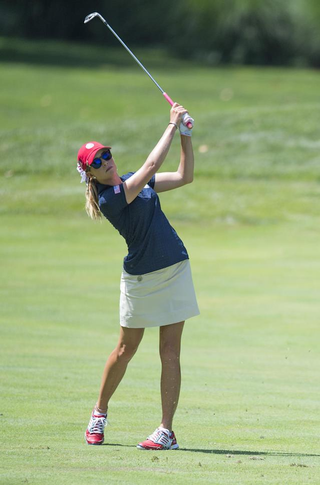 US golfer Paula Creamer during the third round of the LGPA International Crown in Owings Mills, Maryland on July 26, 2014 (AFP Photo/Jim Watson)