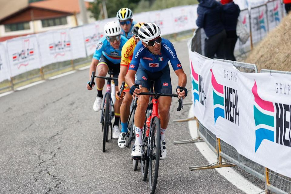 Italy's Vincenzo Nibali drives the four-man breakaway over the climb of the Mazzolano on the final lap of the elite men's road race at the 2020 World Championships, but the move was shortlived