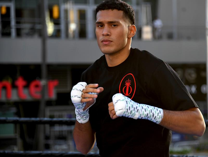 LOS ANGELES, CA - SEPTEMBER 24: Fighter David Benavidez in the ring during a media workout at LA Live on September 24, 2019 in Los Angeles, California. (Photo by Jayne Kamin-Oncea/Getty Images)