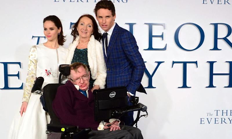 Felicity Jones, Stephen Hawking, Jane Hawking and Eddie Redmayne at the London premiere of The Theory of Everything.