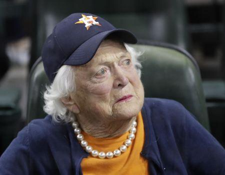 Oct 29, 2017; Houston, TX, USA; Barbara Bush before game five of the 2017 World Series between the Los Angeles Dodgers and the Houston Astros at Minute Maid Park. Mandatory Credit: David J. Phillip/Pool Photo via USA TODAY Sports - 10380568