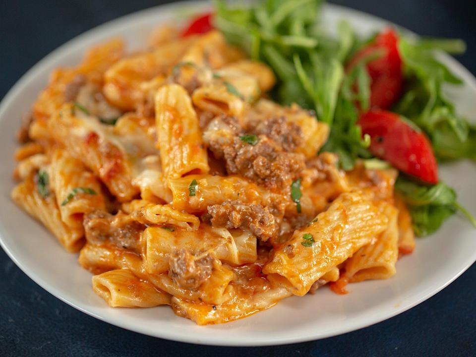 "<p>All the heartiness of baked ziti just got easier, thanks to the Instant Pot. Despite coming together in half an hour, this dish is creamy, meaty, and, most importantly, tastes like it's been simmering all day long. Do <i>not</i> stir—keep the tomatoes and pasta as far from touching the bottom of the Instant Pot as possible. </p> <p><a href=""https://www.myrecipes.com/recipe/instant-pot-creamy-baked-ziti"" rel=""nofollow noopener"" target=""_blank"" data-ylk=""slk:Instant Pot Creamy Baked Ziti Recipe"" class=""link rapid-noclick-resp"">Instant Pot Creamy Baked Ziti Recipe</a></p>"