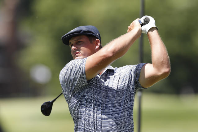 Bryson DeChambeau drives on the second tee during the third round of the Rocket Mortgage Classic golf tournament, Saturday, July 4, 2020, at the Detroit Golf Club in Detroit. (AP Photo/Carlos Osorio)