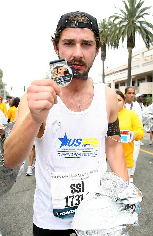 """Shia LaBeouf was just one of nearly 25,000 runners who hit the pavement early last Sunday morning for the 25th Annual LA Marathon. The """"Transformers"""" actor ran the 26.2-mile trek from Dodger Stadium to the Santa Monica Pier on behalf of the nonprofit U.S. VETS, which provides services to veterans of all ages, including troops returning from recent tours of Iraq and Afghanistan. Valerie Macon/<a href=""""http://www.gettyimages.com/"""" target=""""new"""">GettyImages.com</a> - March 21, 2010"""