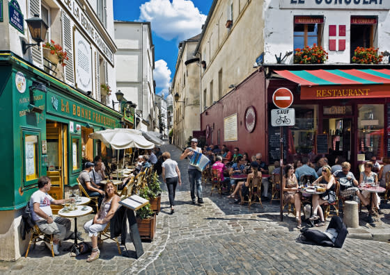 Rue Saint Rustique with Sacre Coeur in Montmartre District, Paris, France