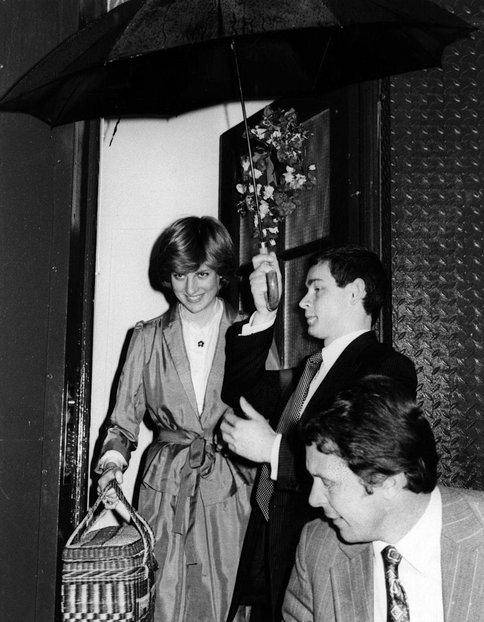 <p>Diana is seen leaving Emanuel's after the final fitting for her wedding dress a week before the big day.</p>