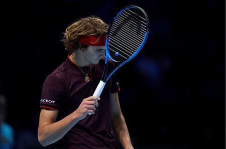 Tennis - ATP World Tour Finals - The O2 Arena, London, Britain - November 14, 2017 Germany's Alexander Zverev reacts during his group stage match against Switzerland's Roger Federer Action Images via Reuters/Tony O'Brien
