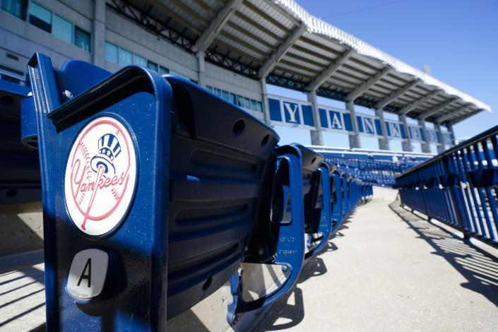 Empty stands are shown at George M. Steinbrenner Field during a New York Yankees spring training baseball workout Tuesday, Feb. 23, 2021, in Tampa, Fla. (AP Photo/Frank Franklin II)