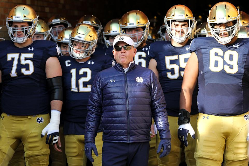 Notre Dame coach Brian Kelly looks on with his team before a game on Nov. 16, 2019 in South Bend, Indiana. (Dylan Buell/Getty Images)