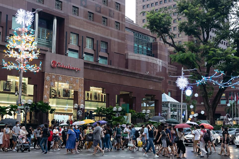 Crowds thronged Singapore's Orchard Road shopping belt