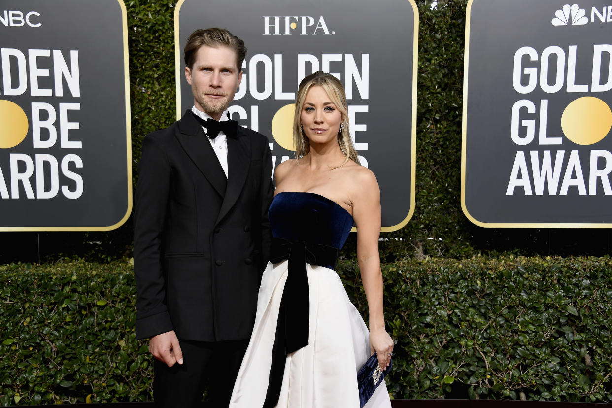 BEVERLY HILLS, CA - JANUARY 06:  76th ANNUAL GOLDEN GLOBE AWARDS -- Pictured: (l-r) Karl Cook and Kaley Cuoco arrive to the 76th Annual Golden Globe Awards held at the Beverly Hilton Hotel on January 6, 2019. --  (Photo by Kevork Djansezian/NBCU Photo Bank/NBCUniversal via Getty Images)