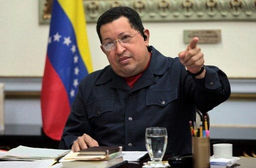 Venezuelan President Hugo Chavez at the presidential palace in Caracas on November 5, 2012