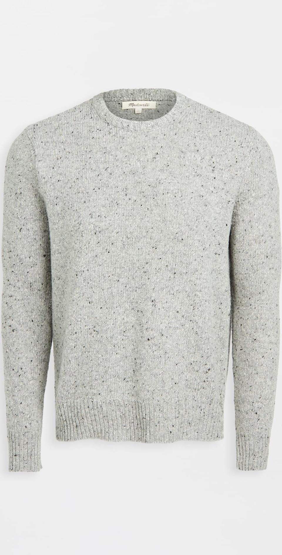 <p>This salt-and-pepper <span>Madewell Crewneck Sweater</span> ($88) has enduring appeal, thanks to the simple yet understated silhouette. The color makes it easy to style.</p>