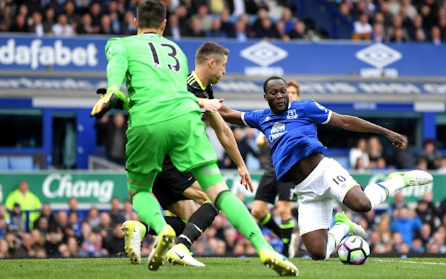 <span>Lukaku slips when trying to knock in a rebound from three yards</span> <span>Credit: Laurence Griffiths/Getty Images </span>