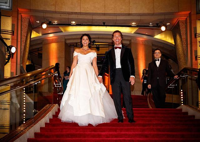 <p>The former Oscar winner and his wife looked like absolute royalty as they posed on the steps of the Hollywood & Highland Center at the 90th annual Academy Awards on Sunday. (Photo: Christopher Polk/Getty Images) </p>