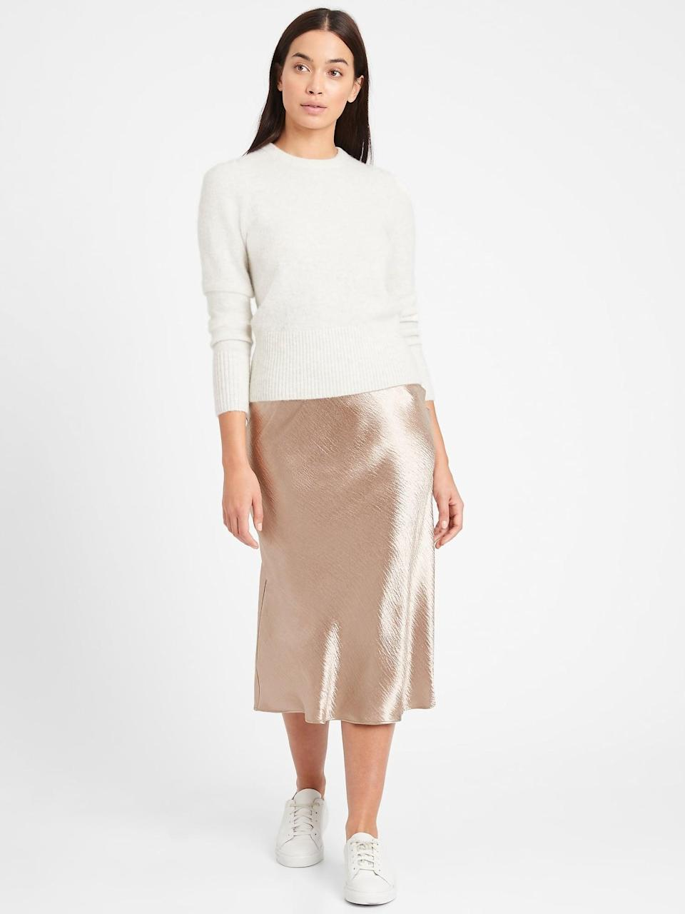 <p>This <span>Bias-Cut Midi Slip Skirt</span> ($59, originally $99) will be pretty for the holidays.</p>