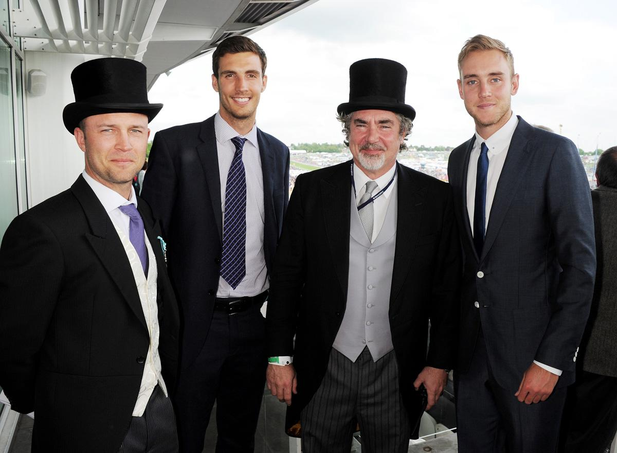 EPSOM, ENGLAND - JUNE 01:  (EMBARGOED FOR PUBLICATION IN UK TABLOID NEWSPAPERS UNTIL 48 HOURS AFTER CREATE DATE AND TIME. MANDATORY CREDIT PHOTO BY DAVE M. BENETT/GETTY IMAGES REQUIRED)  Investec Global Head of Marketing Raymond van Niekerk  (2R) poses with cricketers Jonathan Trott, Steven Finn and Stuart Broad at Derby Day at the Investec Derby Festival at Epsom Racecourse on June 1, 2013 in Epsom, United Kingdom.  (Photo by Dave M. Benett/Getty Images for Investec)