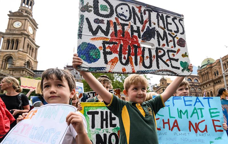 Young people protest in Sydney, Australia, as part of the global climate strike on March 15. (James Gourley via Getty Images)