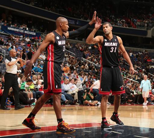 WASHINGTON, DC - APRIL 10: Shane Battier #31 of the Miami Heat and Ray Allen #34 of the Miami Heat celebrate a victory over the Washington Wizards on April 10, 2013 at the Verizon Center in Washington D.C. (Photo by Nathaniel S. Butler/NBAE via Getty Images)