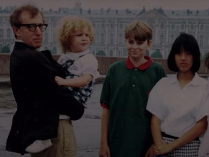 <p>An old photograph of Woody Allen is holding young Dylan Farrow featured in the teaser of HBO's documentary </p> (Screengrab/Youtube)