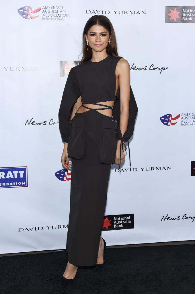 <p>The designer wore an asymmetric dress by Christopher Esber to the awards ceremony.</p>