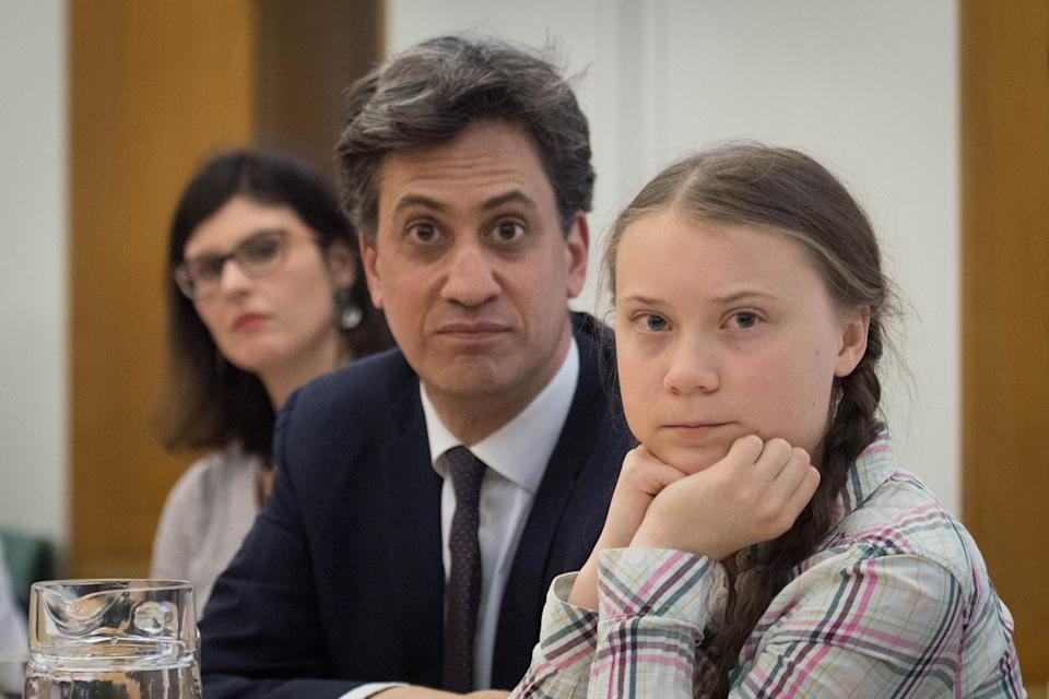 Former Labour leader Ed Miliband (centre) and Swedish climate activist Greta Thunberg (right) at the House of Commons in Westminster, London, to discuss the need for cross-party action to address the climate crisis.
