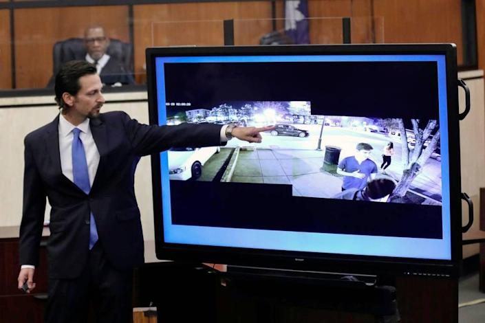 Prosecutor Dan Goldberg points to defendant Nathaniel Rowland's car circling the block as Samantha Josephson waits for an Uber while delivering closing arguments during Rowland's trial, Tuesday, July 27, 2021, in Richland County Circuit Court in Columbia, S.C. Rowland is accused of killing Samantha Josephson after luring her into his car in Marc 2019. (Tracy Glantz/The State via AP, Pool)