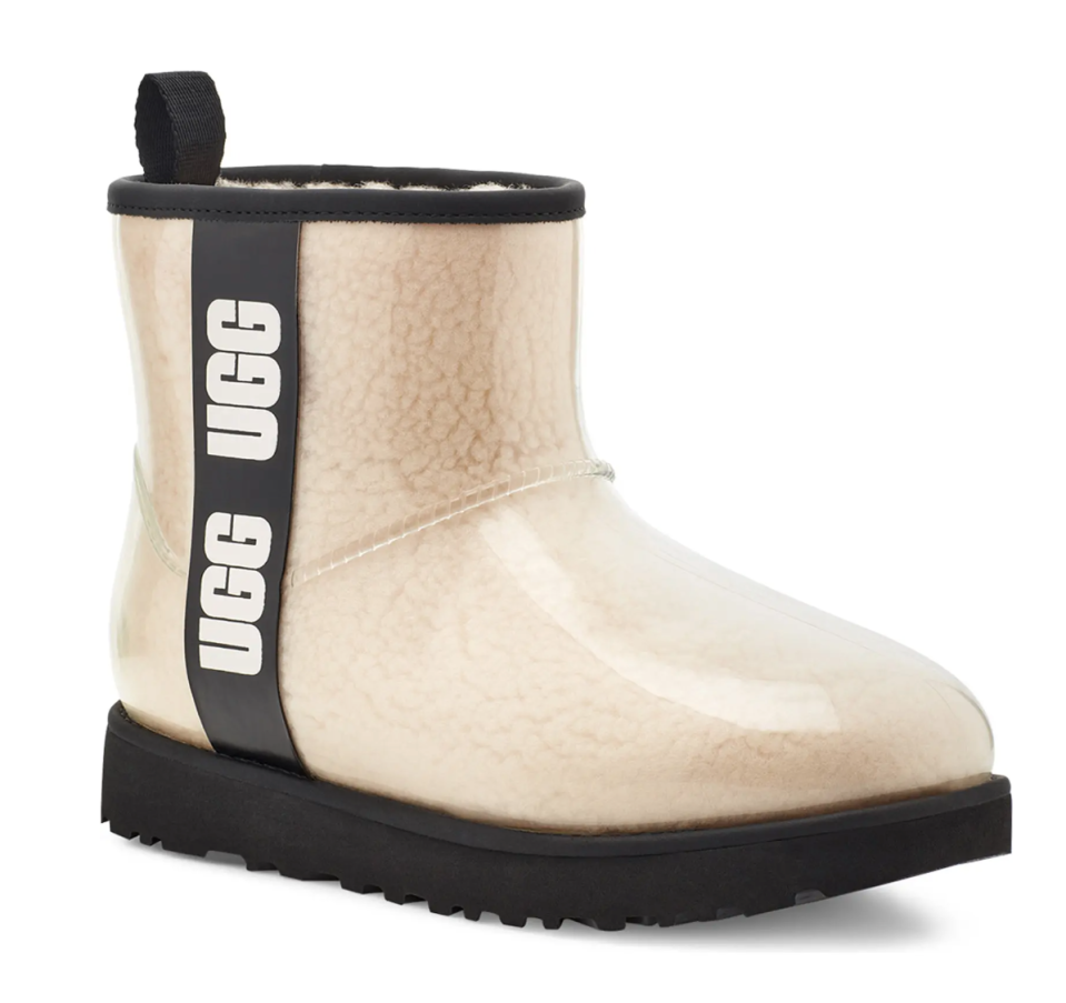 UGG Classic Mini Waterproof Clear Boot in Natural/Black (Photo via Nordstrom)