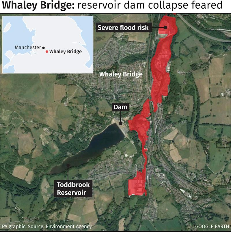 Graphic locates Toddbrook Reservoir dam in Whaley Bridge. See story WEATHER Rain Reservoir. Infographic PA Graphics