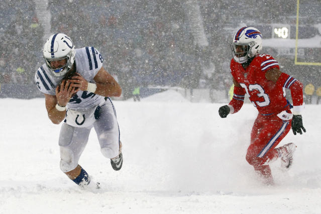 <p>Indianapolis Colts tight end Jack Doyle, left, scores a touchdown during the second half of an NFL football game against the Buffalo Bills, Sunday, Dec. 10, 2017, in Orchard Park, N.Y. (AP Photo/Jeffrey T. Barnes) </p>