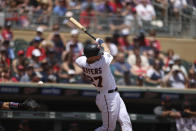 Minnesota Twins' Ryan Jeffers (27) strikes out during the first inning of a baseball game against the Cleveland Indians, Sunday, June 27, 2021, in Minneapolis. (AP Photo/Stacy Bengs)