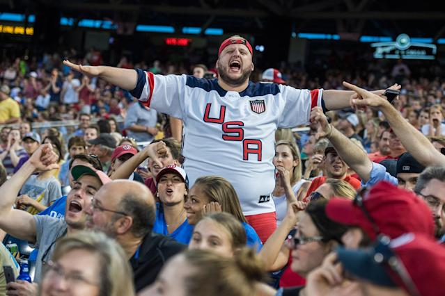<p>Republican fans watch the 56th Congressional Baseball Game at Nationals Park on June 15, 2017. (Photo: Tom Williams/CQ Roll Call/Getty Images) </p>