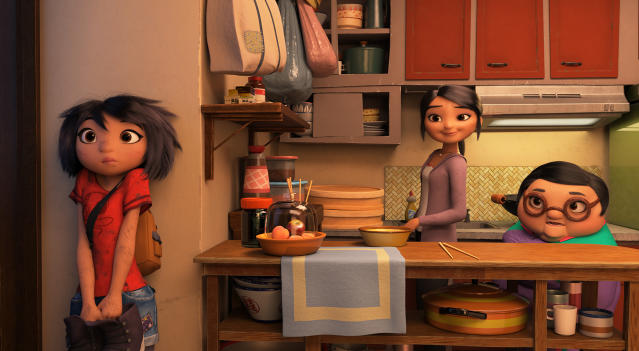 "This image released by DreamWorks Animation shows characters, from left, Yi, voiced by Chloe Bennet, her mother, voiced by Michelle Wong, and grandmother Nai Nai, voiced by Tsai Chin in a scene from ""Abominable,"" in theaters on Sept. 27. (DreamWorks Animation LLC. via AP)"