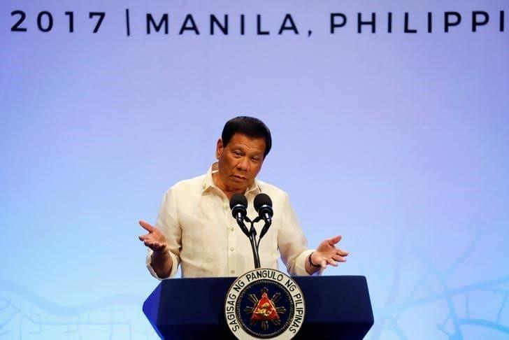 Philippine President Rodrigo Duterte speaks during a news conference  - Erik de Castro/Reuters