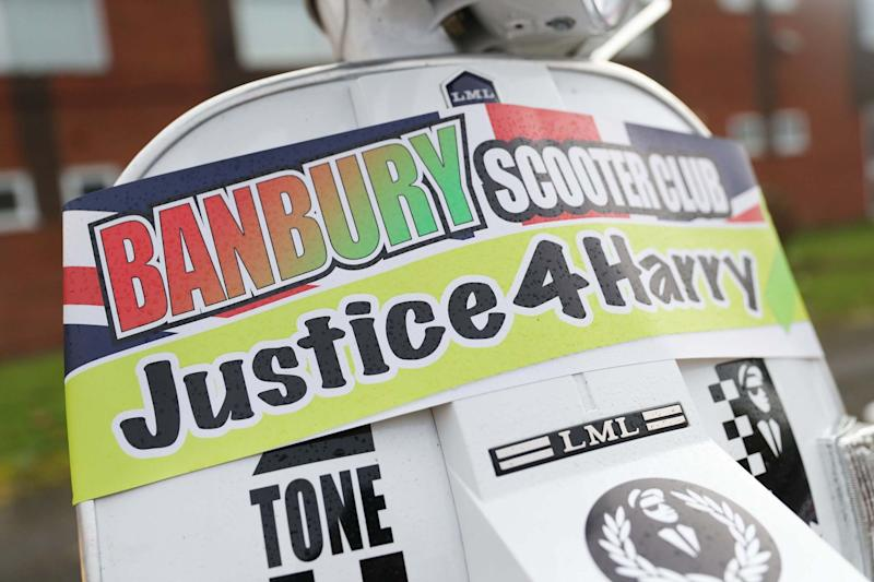 A motorbike convoy prepares to follow Harry Dunn's last ride in Brackley (PA)