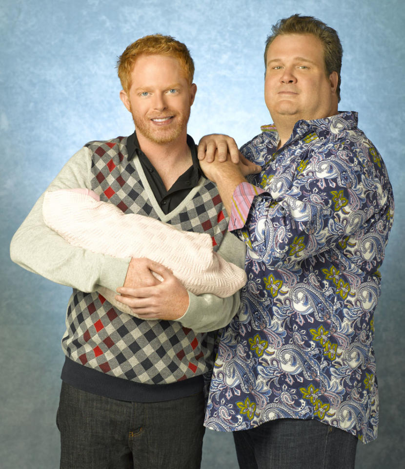 "<b>Mitchell Pritchett (Jesse Tyler Ferguson) and Cameron Tucker (Eric Stonestreet), ""Modern Family"" (2009) </b><br><br> It's pretty safe to say that no gay TV couple has infiltrated mainstream America as much as Mitchell Pritchett and Cameron Tucker of ""Modern Family."" Each week, Mitch and Cam prove that gay couples are just like straight couples; they just happen to be of the same sex. <br><br>  Off-camera, Jesse Tyler Ferguson is openly gay and Eric Stonestreet is straight. But their on-screen chemistry would have any viewer convinced that they're a real couple. With their adopted daughter, Lily, they deal with the same issues most people do, such as picking the right school and staining a friend's expensive rug. Deep down, Mitch and Cam are just a loving couple who embrace each other's quirks and love one another even more because of them. <br><br>  Despite featuring what would have once been considered a too-controversial-for-primetime gay couple, ""Modern Family"" is a favorite of fans and critics alike. The show has won three consecutive Emmy Awards for Outstanding Comedy Series with Stonestreet winning the Supporting Actor Emmy <a href=""http://tv.yahoo.com/blogs/emmys/2012-emmy-award-winners-215138524.html"">twice</a>. It even <a href=""http://www.nytimes.com/2012/09/22/us/politics/using-modern-family-to-woo-undecided-voters.html?_r=1"">crosses partisan</a> lines: both Republican presidential candidate Mitt Romney's wife, Ann, and Democratic first lady Michelle Obama have said they're big fans of the show."