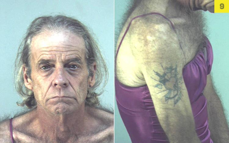 This camisole enthusiast, 56, landed behind bars in March after Florida cops arrested him for drunk driving and cocaine possession. The Smoking Gun photo