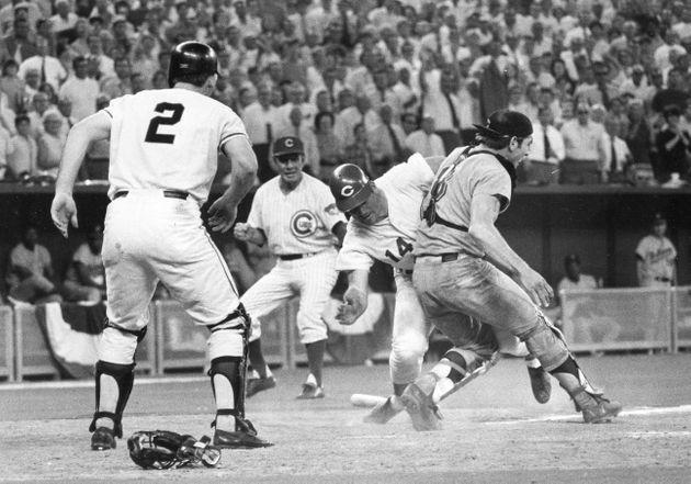 Pete Rose slammed into Fosse to score the winning run in the 1970 All-Star Game. (Photo: via Associated Press)