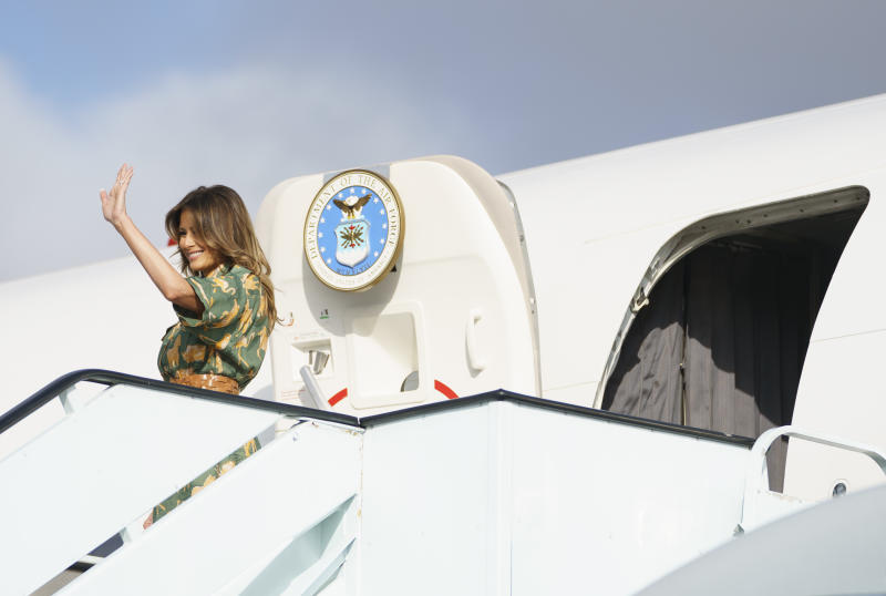 Melania Trump, ending Africa tour, says glad Kavanaugh, accuser been heard