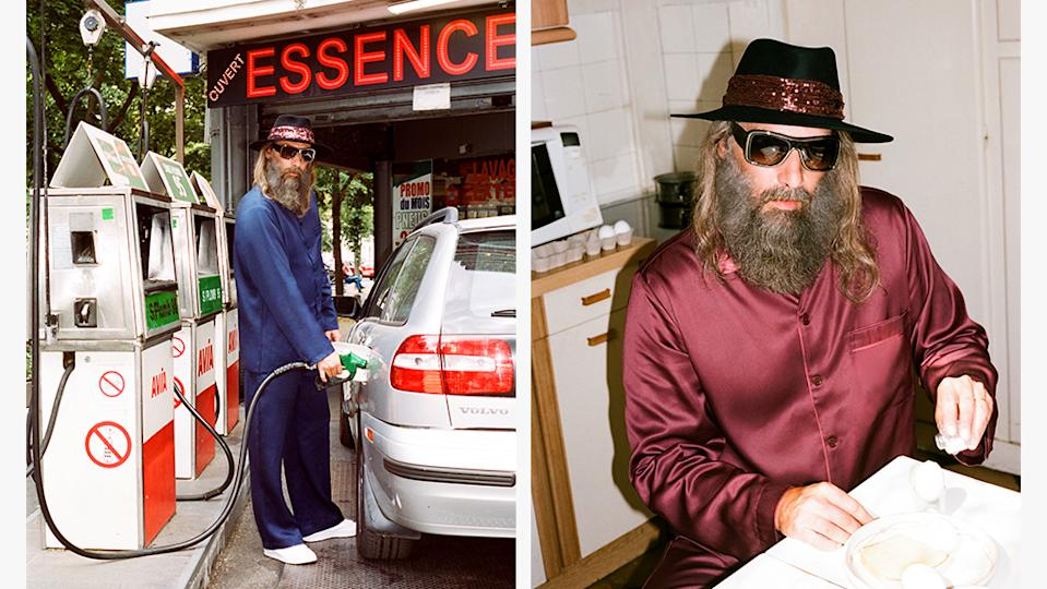 Sébastien Tellier pumping gas and having breakfast in the new campaign.