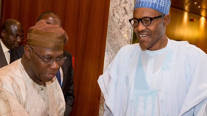 Ex-President Obsanjo (L) from the south-west and President Buhari (R) from the north have both been accused of favouring their regions