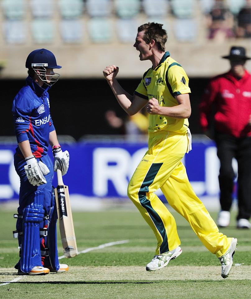TOWNSVILLE, AUSTRALIA - AUGUST 11:  Mark Steketee of Australia celebrates the wicket of Alex Davies during the ICC U19 Cricket World Cup 2012 match between Australia and England at Tony Ireland Stadium on August 11, 2012 in Townsville, Australia.  (Photo by Ian Hitchcock-ICC/Getty Images)