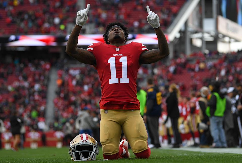 Marquise Goodwin and his wife Morgan came forward to share a traumatic story. (Getty Images)