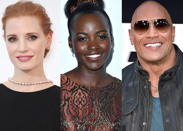 Jessica Chastain, Lupita Nyong'o, and Dwayne Johnson are all fans of Gal Gadot's Wonder Woman. (Photo: Getty Images)