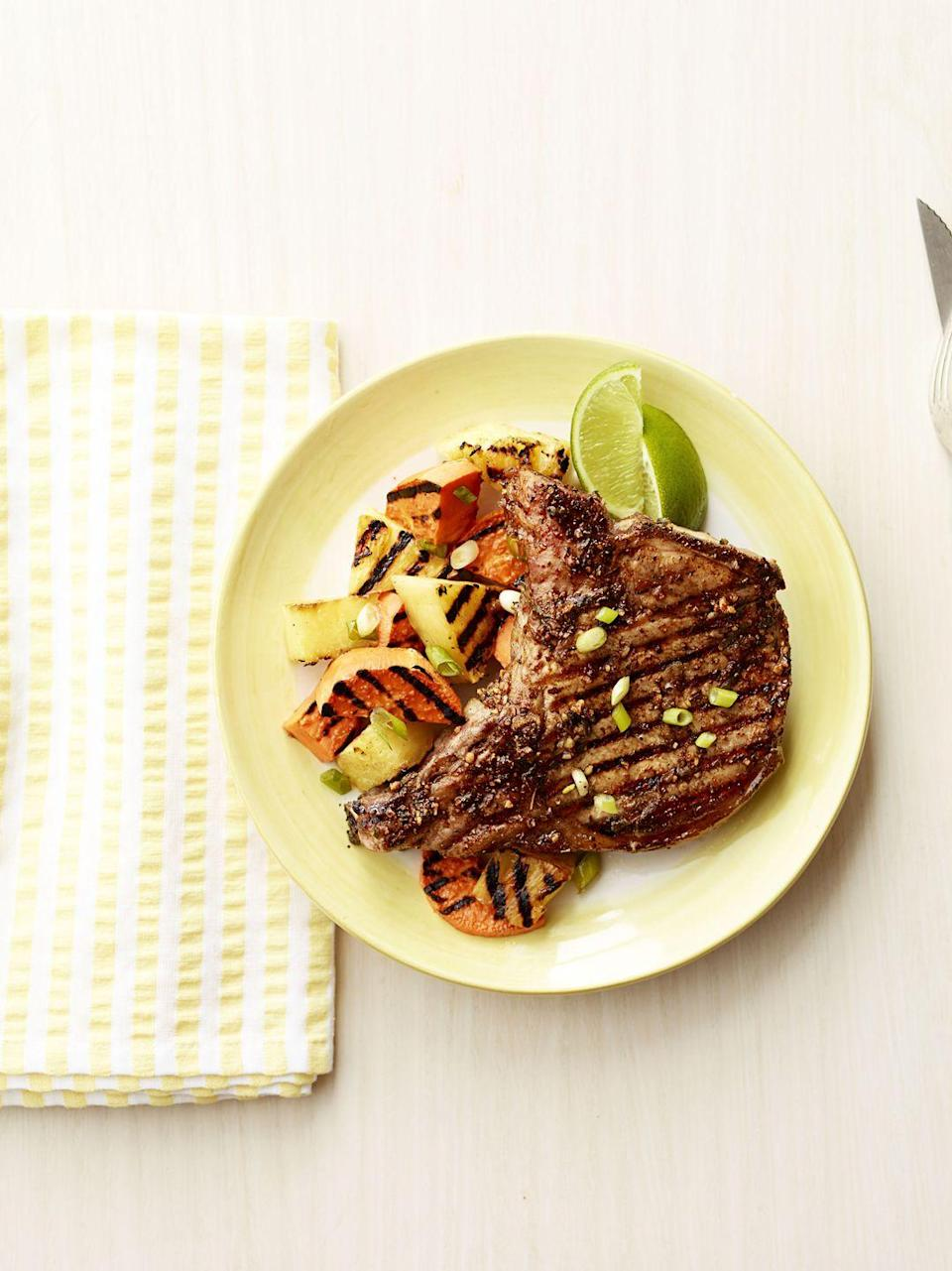 "<p>For maximum flavor, throw a few slices of pineapple and sweet potatoes on the grill. They'll start to caramelize and char, which goes well with a fiery pork chop.</p><p><a href=""https://www.goodhousekeeping.com/food-recipes/a14830/jerk-pork-chops-with-grilled-pineapple-recipe-ghk0913/"" rel=""nofollow noopener"" target=""_blank"" data-ylk=""slk:Get the recipe for Jerk Pork Chops with Grilled Pineapple »"" class=""link rapid-noclick-resp""><em>Get the recipe for Jerk Pork Chops with Grilled Pineapple »</em></a></p>"