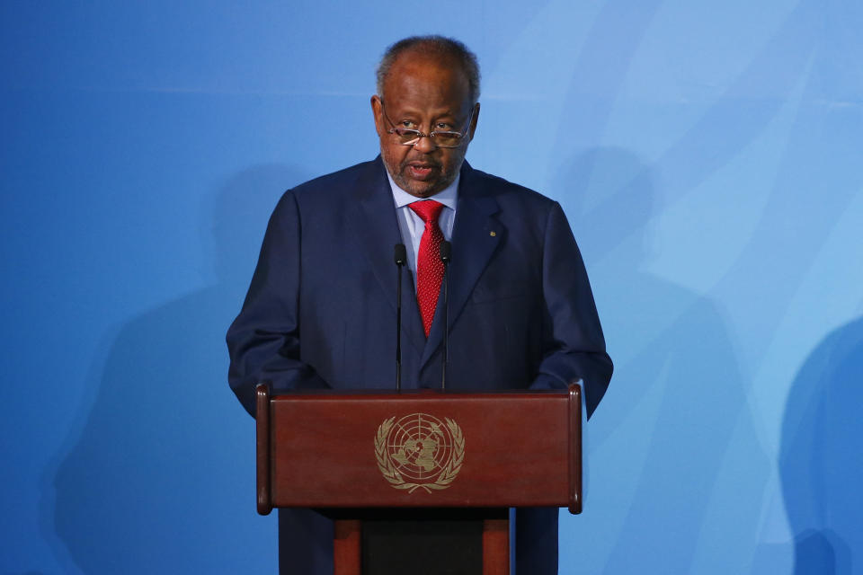 Djibouti's President Ismael Omar Guelleh addresses the Climate Action Summit in the United Nations General Assembly, at U.N. headquarters, Monday, Sept. 23, 2019. (AP Photo/Jason DeCrow)