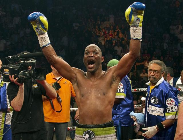 FILE - In this May 21, 2011, file photo, Bernard Hopkins celebrates after defeating Jean Pascal with a unanimous decision to win a WBC light heavyweight world title fight, in Montreal. Hopkins was elected to the International Boxing Hall of Fame, Wednesday, Dec. 4, 2019. (AP Photo/The Canadian Press, Ryan Remiorz, File)