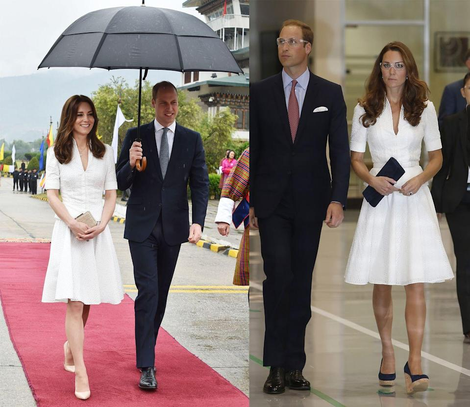 <p>The Duchess of Cambridge has worn this classic fit-and-flare Alexander McQueen dress to tour the Rolls Royce Campus in September 2012 and to depart from Bhutan during the royal tour of India in April 2016. </p>