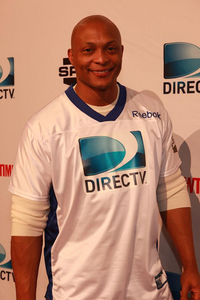 NFL great Eddie George arrives at the DirecTV Celebrity Beach Bowl in Indianapolis.