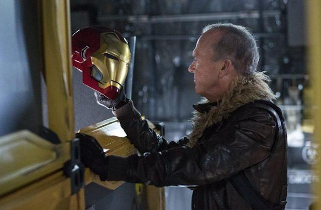 Adrian Toomes (Michael Keaton) with some heisted Iron Man swag (Photo: Sony Pictures)